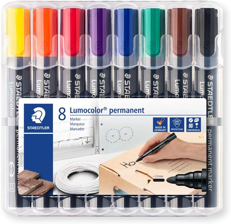 STAEDTLER Lumocolor 10 WP10 permanent marker, Rundspitze, 10 mm,  aufstellbare Box mit 10 farben