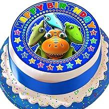 Cannellio Cakes Dinosaur Train Happy Birthday Blue Precut Edible Icing Cake Topper Decoration
