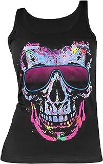 Totenkopf-Neon/Damen/Girlie-Träger-Shirt/ Tank-Top mit Skull - Motiv: Shady Character- cooler Look