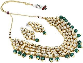 Shining Diva Fashion Green Kundan Stylish Necklace Set for Women Wedding Traditional Jewellery Set with Earrings for Women & Girls