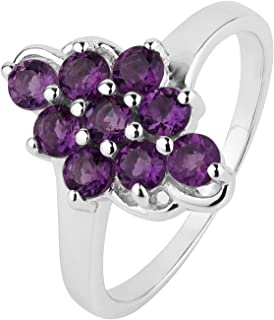 ShahGems 1cttw Amethyst 925 Sterling Silver Ring Natural Birthstone Gemstone Jewelry Gift for Women