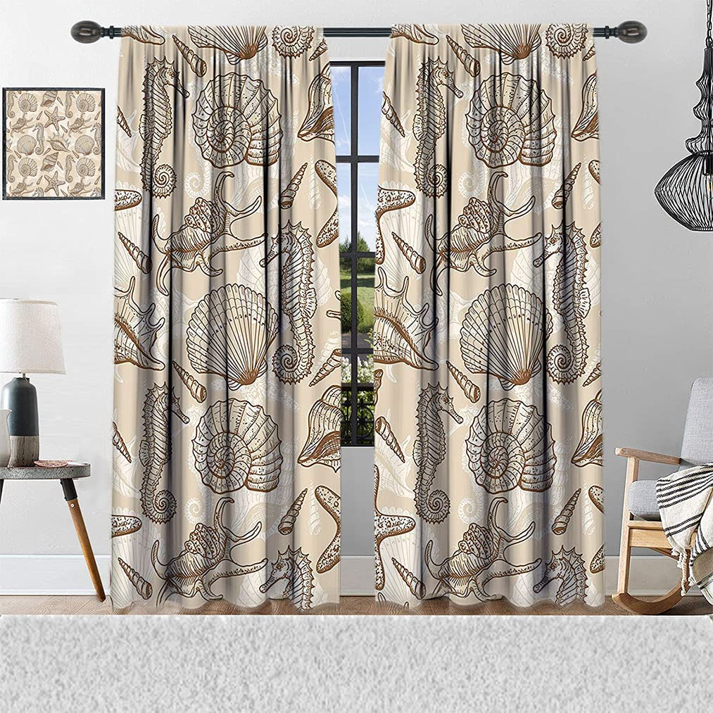 Beige Decor Clearance SALE! Limited time! Window store Curtains Exotic Animals Styl Marine in Retro
