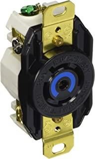 Hubbell Wiring Systems HBL2510 Nylon Face Twist-Lock Receptacle, 20 Ampere, 3 Phase 120/208V, 4-Pole, 5-Wire Grounding, Black