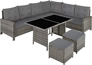 TecTake 800824 Salon de Jardin en Résine Tressée Modulable 1 Canapé d'Angle 1 Table 2 Poufs Tabourets - Diverses Couleurs...