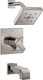 Delta Faucet Ara 17 Series Dual-Function Tub and Shower Trim Kit with Single-Spray H2Okinetic Shower Head, Stainless T17467-SS (Valve Not Included)
