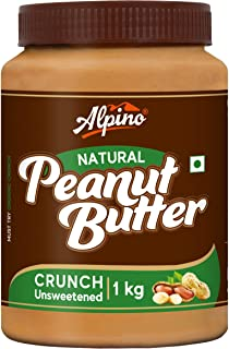 Alpino Natural Peanut Butter Crunch 1 KG | Unsweetened | Made with 100% Roasted Peanuts | 30% Protein | No Added Sugar | N...