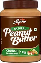 Alpino Natural Peanut Butter Crunch 1 KG | Unsweetened | Made with 100% Roasted Peanuts | No Added Sugar | No Added Salt | No Hydrogenated Oils | 100% Non-GMO | Gluten-Free | Vegan