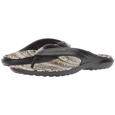 Crocs Classic Graphic Flip (Black/Khaki) Shoes