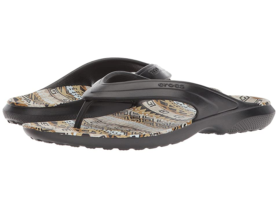 Crocs Classic Graphic Flip (Black/Khaki) Shoes