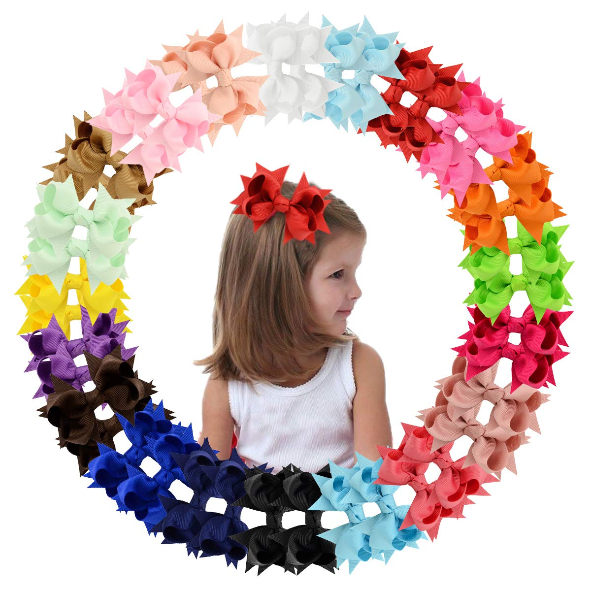 40PCS/20 Colors Baby Girls Hair Bows Alligator Hair Clips 3.3Inch Grosgrain Ribbon Pinwheel Bows Hair Barrettes Hair Accessories for Babies Infant Toddlers Kids Toddler Children