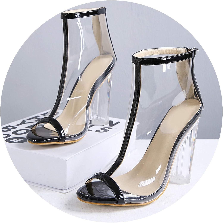 Summer Women 12Cm High Heels Sandals Female Fetish Gladiator Transparent shoes Lady PVC Thick Block Heels Peep Toe Pumps