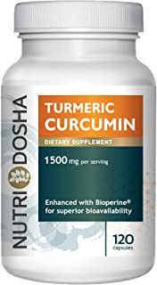 1500 mg Active Curcuminoids in 95% Standardized Turmeric Curcumin Extract with Bioperine® for Maximum Absorbency - Highest...