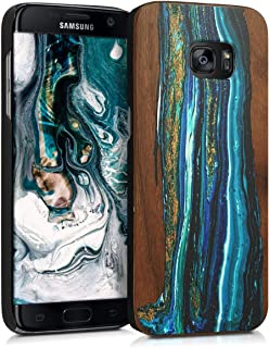 kwmobile Samsung Galaxy S7 Edge Wood Case - Non-Slip Natural Solid Hard Wooden Protective Cover for Samsung Galaxy S7 Edge