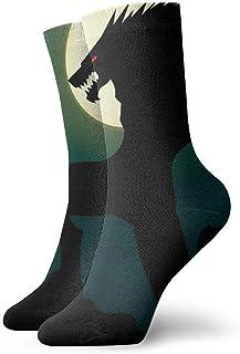 Hunter qiang, Calcetines para mujeres y hombres, un espeluznante lobo con una sonrisa sobre el fondo de un calcetín de deporte amarillo Big Moon de 30 cm