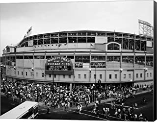 Wrigley Field, Chicago, Cook County, Illinois by Panoramic Images Canvas Art Wall Picture, Museum Wrapped with Black Sides, 23 x 18 inches