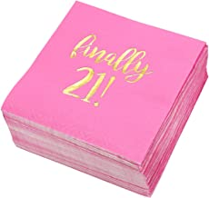 Birthday Party Cocktail Napkins - 50 Pack Gold Foil Finally 21 Disposable Party Napkins, Perfect for Girls 21st Birthday Decorations and Dinner Party Supplies, 5 x 5 inches, Hot Pink