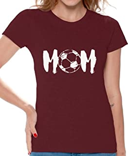 Awkward Styles Women's Soccer MOM Motherhood Graphic T Shirt Tops White Sport Mom Gift Idea