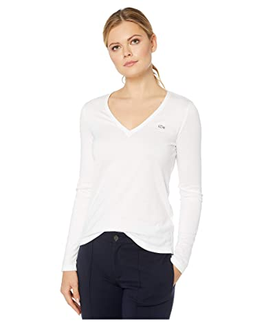 Lacoste Long Sleeve Classic Supple Jersey V-Neck T-Shirt (White) Women