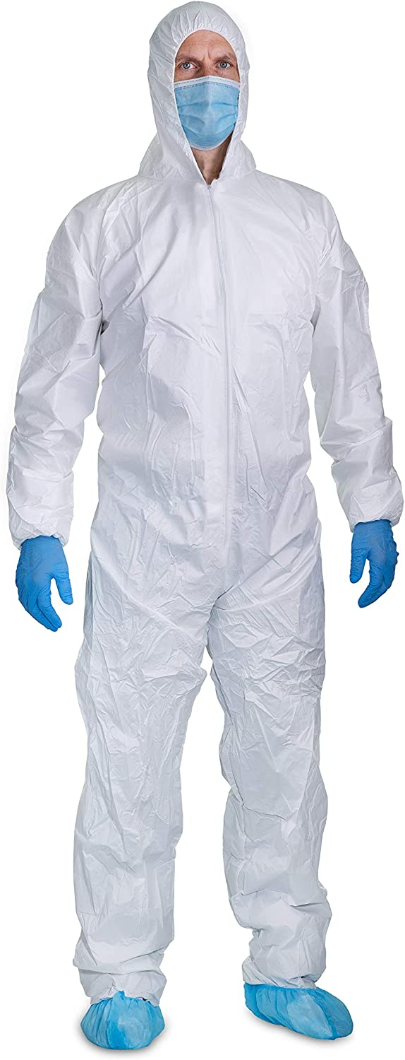 5 Pack Microporous Protective Coverall Suits With Hood Elastic Wrists, Ankles and Waist, Single Zipper, For Painting/Industrial Use (3XL) - -