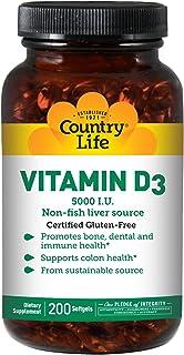 Country Life Vitamin D3 5000 I.U. 200 Softgels