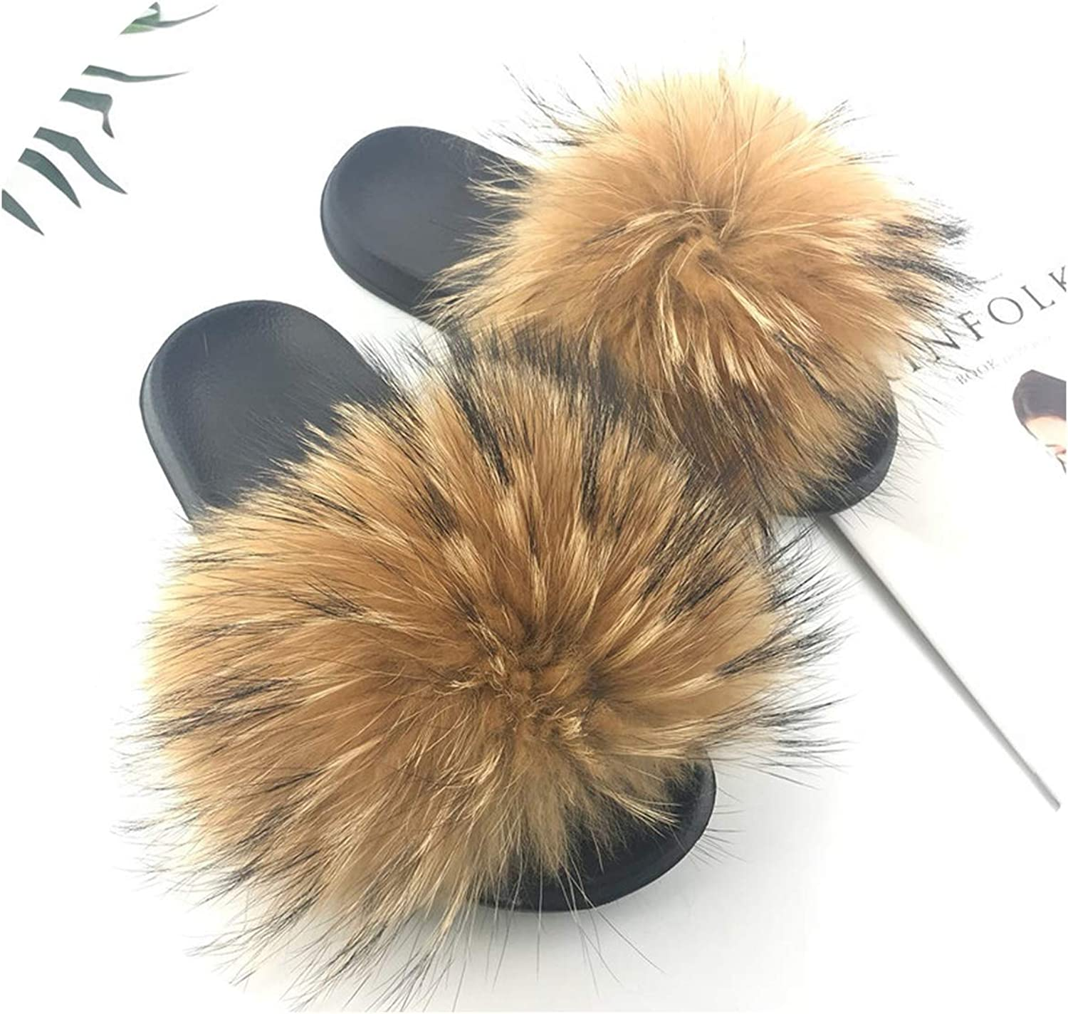 Just XiaoZhouZhou 28 colors Real Fur Slippers Women Fox Fluffy Sliders Comfort with Feathers Furry Summer Flats Sweet Ladies shoes Plus Size 36-45,11,6.5