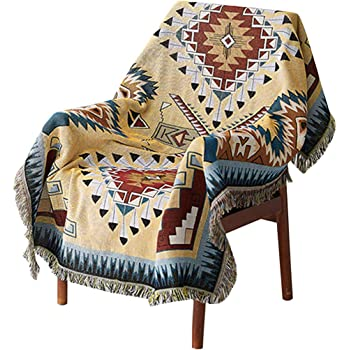 Woven Tapestry Camp Throw with Fringe Cotton USA 72x54 2933-T Southwest Turquoise Blanket Pure Country Weavers