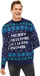 Unisex Men's Ugly Christmas Sweater Knit Funny Fairisle Filthy Animal Pullover