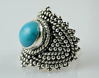 Anello in argento turchese, anello, anello con gemma, anello in argento, anello fatto a mano, anello in argento massiccio ...
