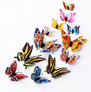 DaGou 12 PCS 3D Luminous Butterfly Wall Stickers Decor Art Decorations,Butterfly Wall Decals Removable DIY Home Decorations Art Decor Wall Stickers for Wall Decor Home Art Kids Room Bedroom Decor