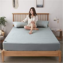 HOMFLOW Fitted Bed Cover Breathable Stain Resistant Terry Cotton Mattress Protector Waterproof Skin Friendly Machine Washa...