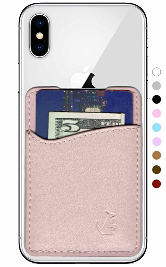 Premium Leather Credit Card Holder Stick On Wallet iPhone Android Smartphones (Rose Gold Leather) Wallaroo