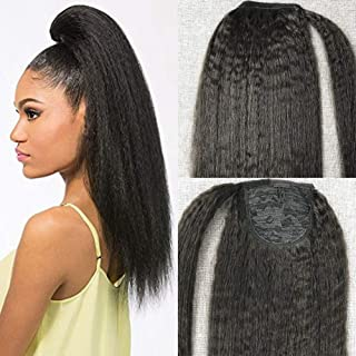 Moresoo Kinky Straight Ponytail Extensions 16 Inch Clip in Human Hair Color #1B Off Black Ponytail Natural Hair Extensions 60g Per Piece