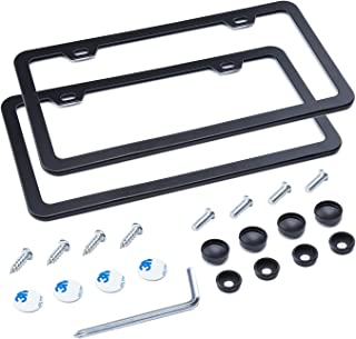 L-Fine License Plate Frame 2 Pcs 2 Holes Aluminum Slim Bottom Design with Screw Set (Black)