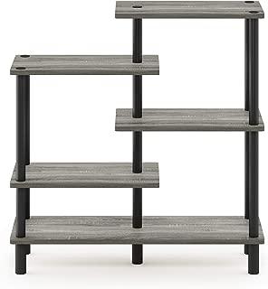 Furinno Turn-N-Tube 5-Tier Accent Display Rack, French Oak Grey/Black