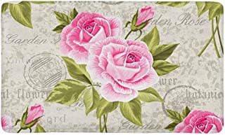 InterestPrint Floral Pattern with Pink Roses on Vintage Postcard Doormat Indoor Outdoor Entrance Rug Floor Mats Shoe Scrap...