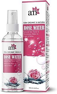 AromaMusk 100% Organic & Natural Premium Rose Water/Skin Toner (Gulab Jal) For Face & Skin, 100ml (Steam Distilled, No Alc...
