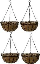 Ashman 4 Pack Metal Hanging Planter Basket with Coco Coir Liner Round Wire Plant Holder Chain Porch Decor Flower Pots Hanger Garden Decoration Indoor Outdoor Watering Hanging Baskets