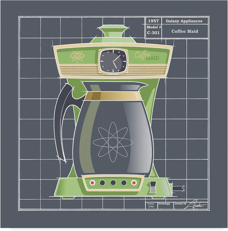Trademark Fine Art ALI41880-C1414GG Galaxy Coffee Maid Lime by Larry Hunter Art, 14x14