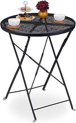 relaxdays Table de Jardin Pliante, HxD 71,5 x 60,5 cm, résistant aux intempéries, Trou pour Parasol, Rond, Acier, Noir, 1 unité