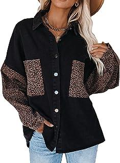Sidefeel Women Long Sleeve Button Denim Jacket Distressed Ripped Jean Coat