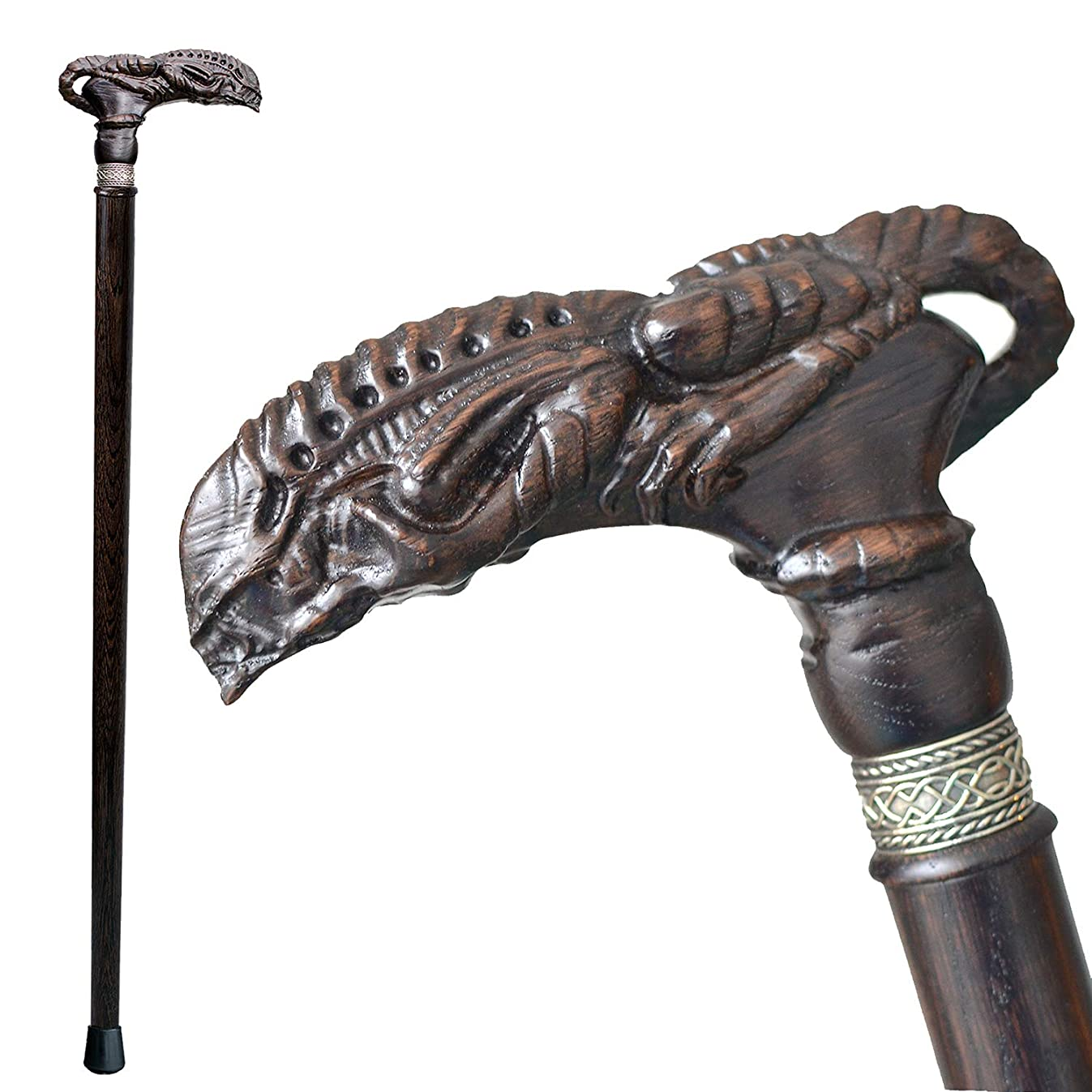 Asterom Fancy Carved Walking Canes for Men and Women - Alien Xenomorph - Unique Wooden Cane Fashionable