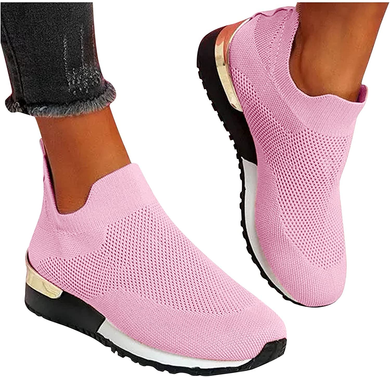 UOCUFY Sneakers for Women Slip On Low Tops Wedge Platform Shoes Lightweight Walking Shoes Comfortable Athletic Shoes