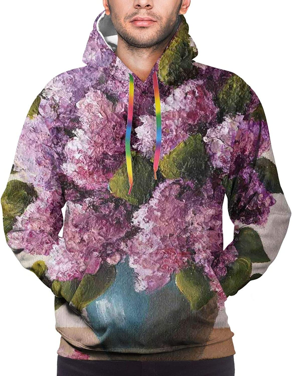 Men's Hoodies Sweatshirts,Oil Artwork Cloud Wave Image with Ombre Seem Colored Contemporary Artwork Print