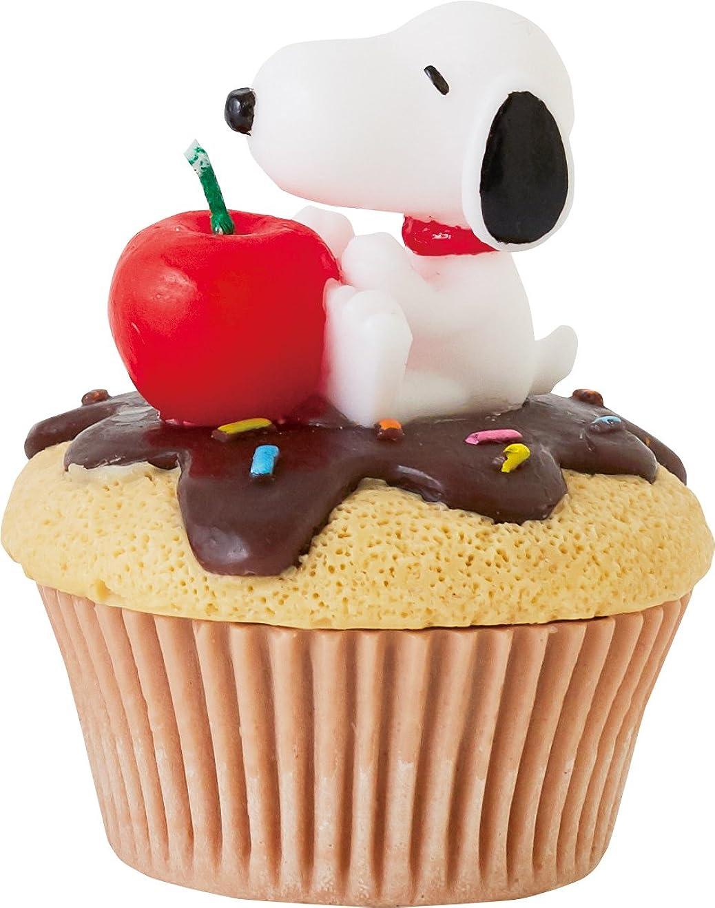 バッジ無駄だエンドウカメヤマキャンドルハウス スヌーピーカップケーキキャンドル チョコ(チョコレートの香り)