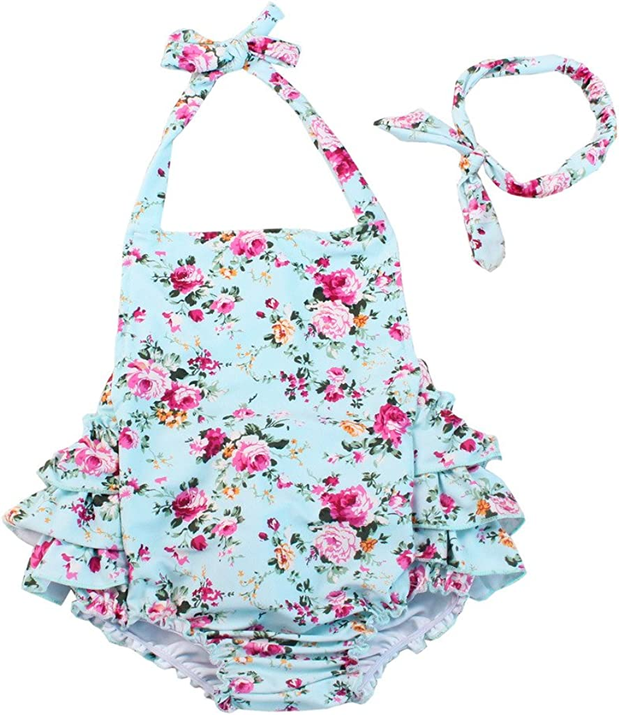 China Rose 50's Floral Ruffles Rompers Backless Dress Bathing Suit Swimwear: Clothing, Shoes & Jewelry