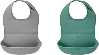 OXO Tot Roll-Up Bib 2 Pack Gray/Sage