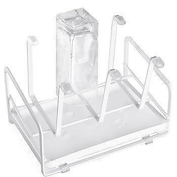6カップまたはマグ用のドレンパン付きカップホルダー、グラス収納、コップ収納、マグカップ収納 (ホワイト)