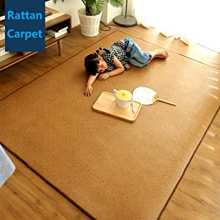MAXYOYO Memory Foam Breathable Summer Sleeping Pad Cool Mattress Topper, Thickness 1.2 cm Large Rattan Mat Japanese Tatami Mat Boys Girls Non Slip Crawling Mat, 71 by 79 Inch