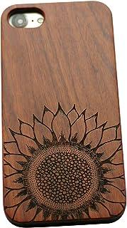 VIVIPOW Wood Phone Case Compatible iPhone 8 Case,Sunflower Phone Case Compatible iPhone 8 (4.7`) (Sunflower-Rosewood)