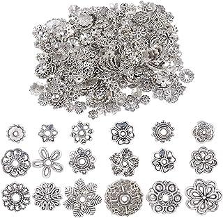 JNCH 100g 6-10mm Coupelle Perle Argent Antique Tibétain Métal Calottes Fleur Caps Chapeaux de Perles Intercalaires Cônes M...
